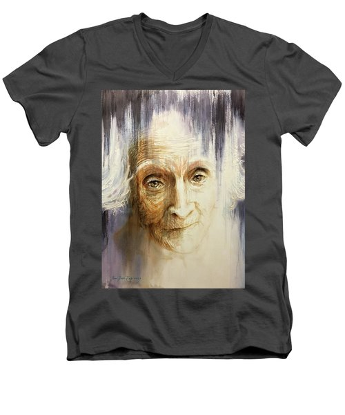 Men's V-Neck T-Shirt featuring the painting Histories And Memories Of Ancestral Light 3 by J- J- Espinoza