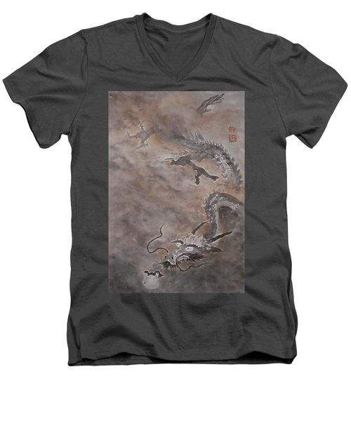 Hitofuki The Dragon Men's V-Neck T-Shirt