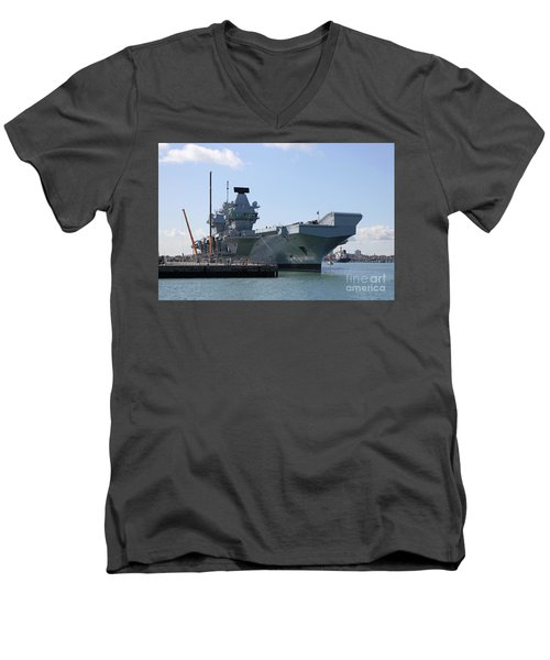 Hms Queen Elizabeth Aircraft Carrier At Portmouth Harbour Men's V-Neck T-Shirt