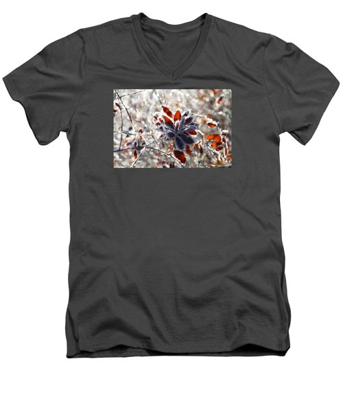 Men's V-Neck T-Shirt featuring the photograph Hoar Frost - Nature's Christmas Lights  by Peggy Collins