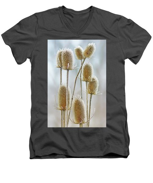 Men's V-Neck T-Shirt featuring the photograph Hoar Frost - Wild Teasel by Nikolyn McDonald