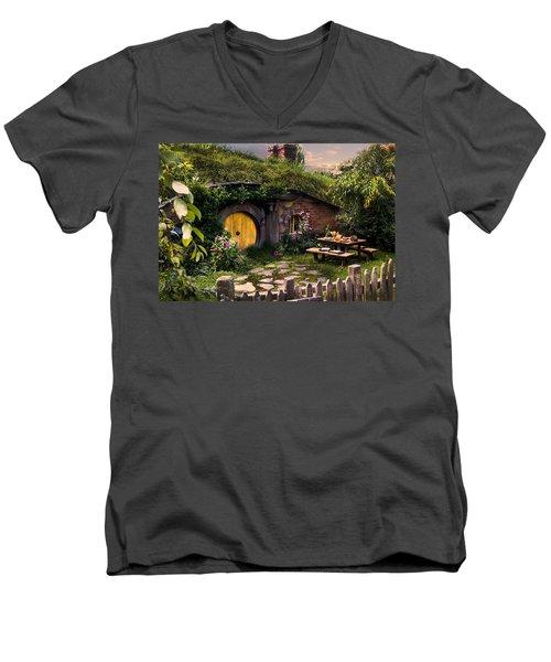 Hobbit Hole At Sunset Men's V-Neck T-Shirt