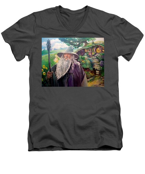 Men's V-Neck T-Shirt featuring the painting Hobbit by Paul Weerasekera