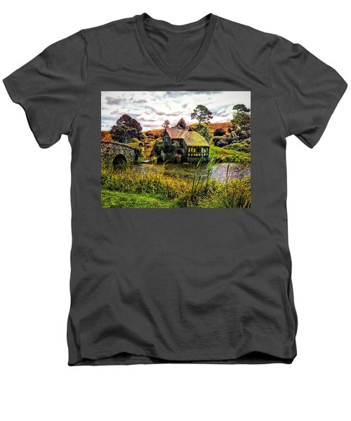 Men's V-Neck T-Shirt featuring the photograph Hobbiton Mill And Bridge by Kathy Kelly