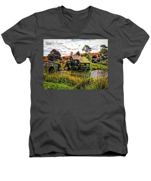Hobbiton Mill And Bridge Men's V-Neck T-Shirt by Kathy Kelly