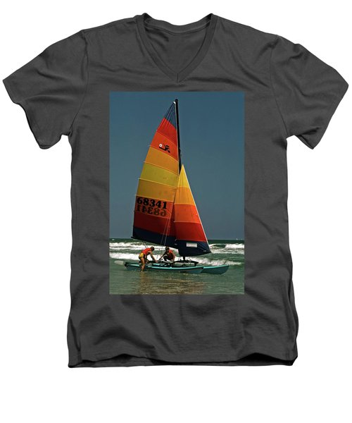 Hobie Cat In Surf Men's V-Neck T-Shirt by Sally Weigand