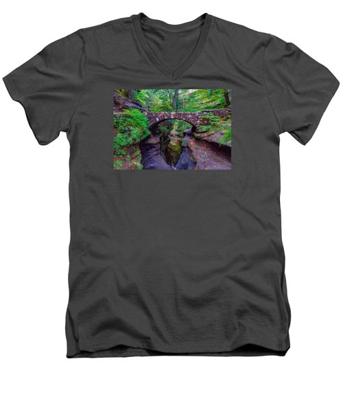 Men's V-Neck T-Shirt featuring the photograph Hocking Hills State Park 3 by Brian Stevens
