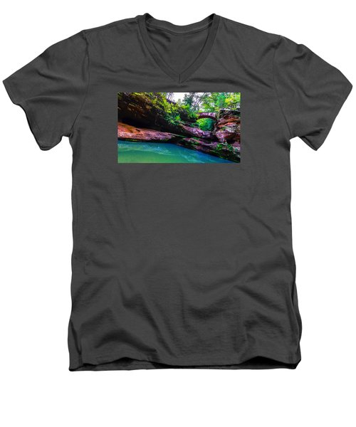 Men's V-Neck T-Shirt featuring the photograph Hocking Hills State Park 4 by Brian Stevens