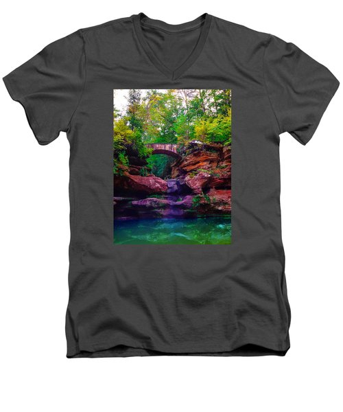 Men's V-Neck T-Shirt featuring the photograph Hocking Hills State Park 6 by Brian Stevens