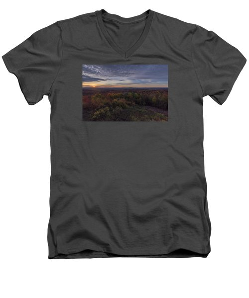 Men's V-Neck T-Shirt featuring the photograph Hogback Morning by Tom Singleton