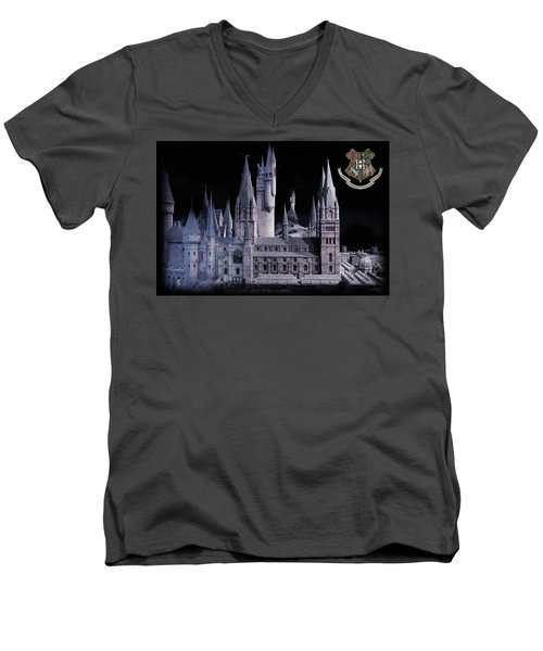 Men's V-Neck T-Shirt featuring the mixed media Hogwards School  by Gina Dsgn