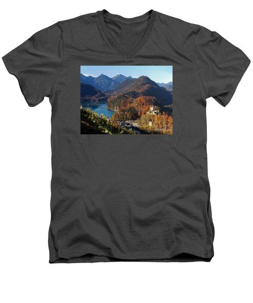 Hohenschwangau Castle And Alpsee In Bavaria Men's V-Neck T-Shirt by Rudi Prott