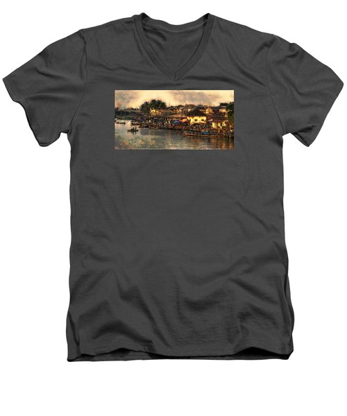 Men's V-Neck T-Shirt featuring the digital art Hoi Ahnscape by Cameron Wood