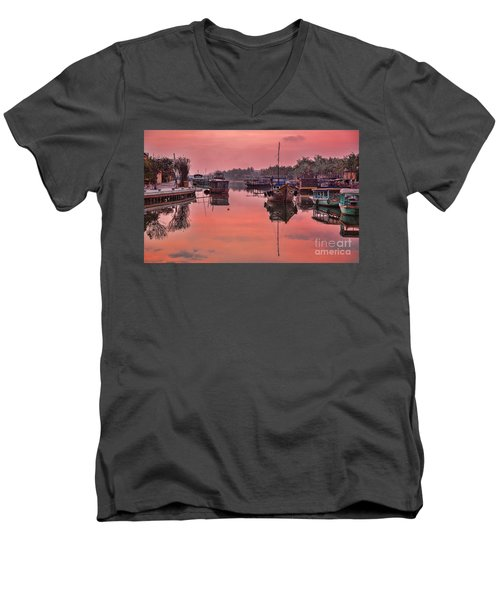 Hoi An Sunset  Men's V-Neck T-Shirt by Chuck Kuhn