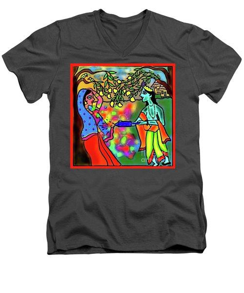 Holi Men's V-Neck T-Shirt by Latha Gokuldas Panicker
