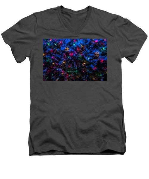 Holiday Lights In Snow Men's V-Neck T-Shirt