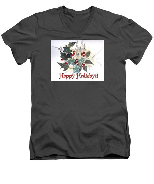 Men's V-Neck T-Shirt featuring the painting Holidays Card -1 by Dorothy Maier