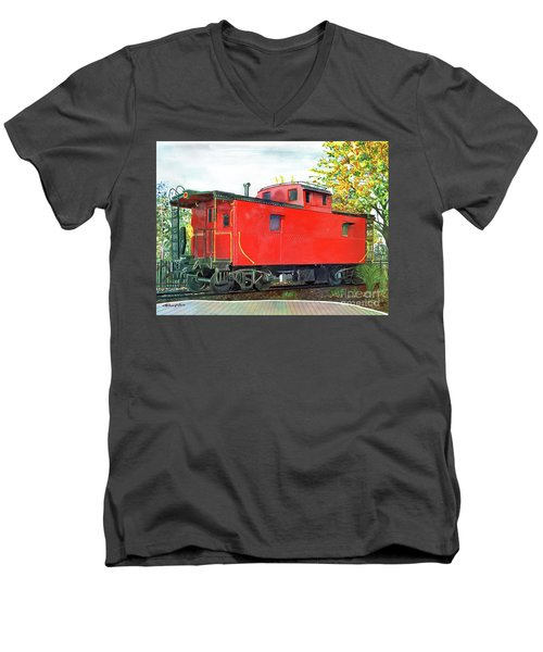 Men's V-Neck T-Shirt featuring the painting Holland Michigan Caboose by LeAnne Sowa