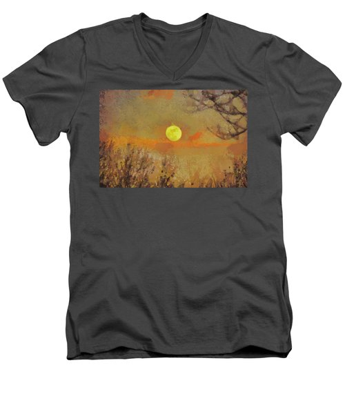Men's V-Neck T-Shirt featuring the mixed media Hollow's Eve by Trish Tritz