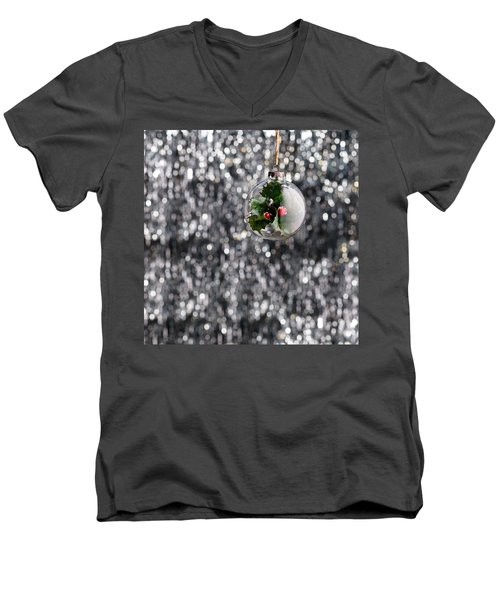 Men's V-Neck T-Shirt featuring the photograph Holly Christmas Bauble  by Ulrich Schade