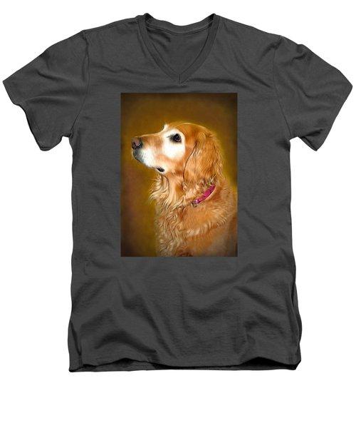 Holly Men's V-Neck T-Shirt by Marion Johnson