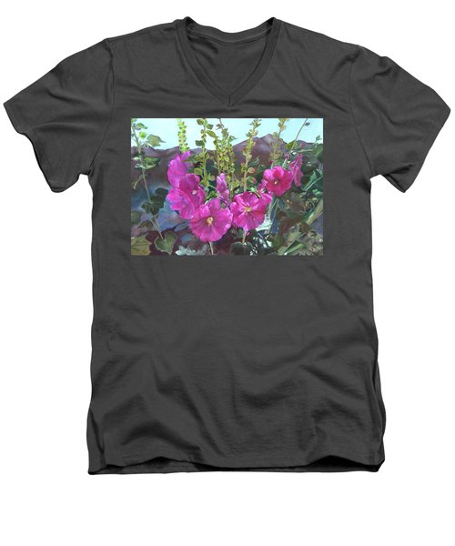 Men's V-Neck T-Shirt featuring the painting Hollyhock Necklace by Jane Autry