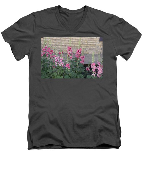 Men's V-Neck T-Shirt featuring the photograph Hollyhocks by Cynthia Powell