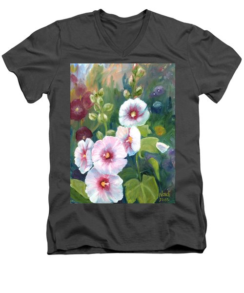 Men's V-Neck T-Shirt featuring the painting Hollyhocks by Renate Nadi Wesley