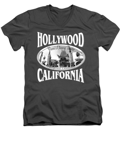 Hollywood California Tshirt Design Men's V-Neck T-Shirt by Art America Gallery Peter Potter