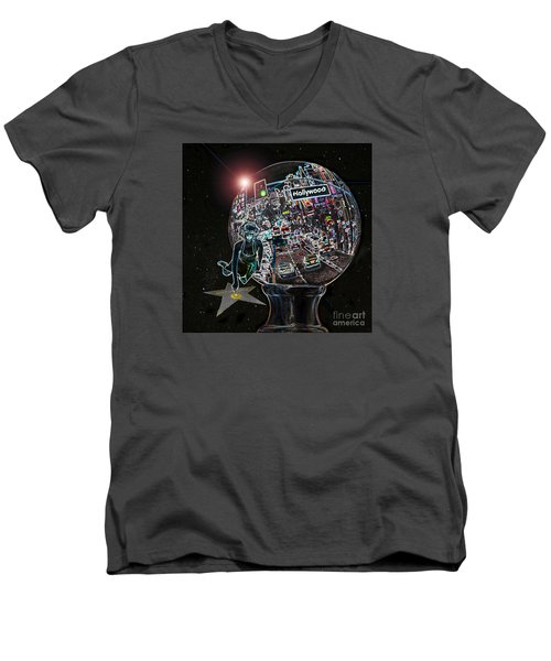 Men's V-Neck T-Shirt featuring the photograph Hollywood Dreaming Marilyn's Star by Cheryl Del Toro