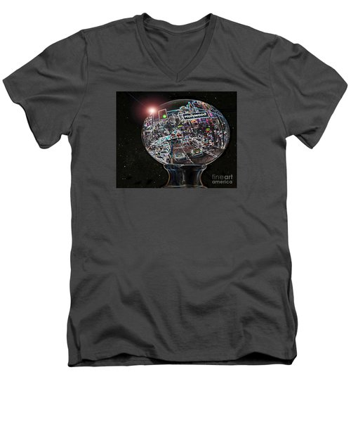 Men's V-Neck T-Shirt featuring the photograph Hollywood Dreaming - Oblong Globe by Cheryl Del Toro