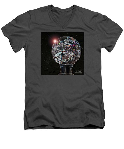 Men's V-Neck T-Shirt featuring the photograph Hollywood Dreaming - Square Globe by Cheryl Del Toro