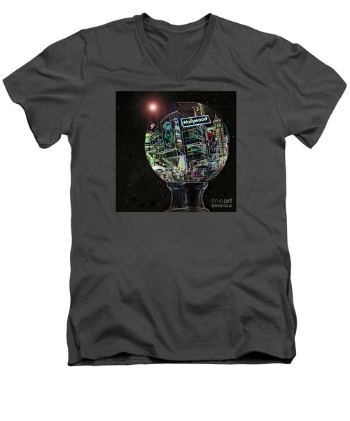 Men's V-Neck T-Shirt featuring the photograph Hollywood Dreaming - Walk Of Fame by Cheryl Del Toro