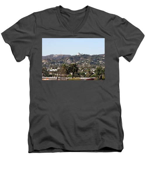 Hollywood Hills From Sunset Blvd Men's V-Neck T-Shirt