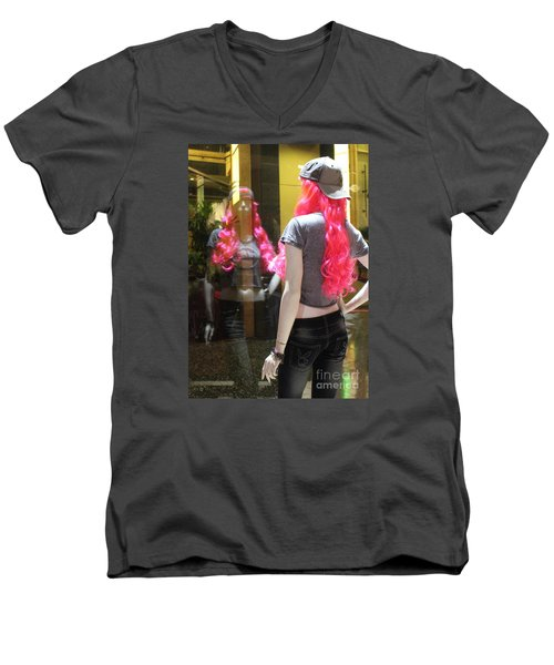 Hollywood Pink Hair In Window Men's V-Neck T-Shirt by Cheryl Del Toro