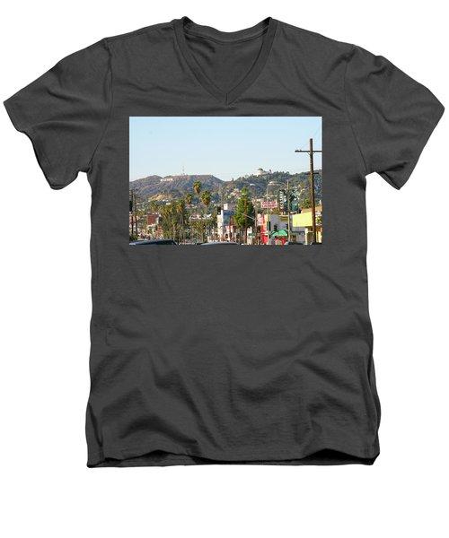 Hollywood Sign Above Sunset Blvd. Men's V-Neck T-Shirt