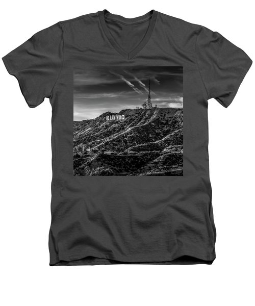 Hollywood Sign - Black And White Men's V-Neck T-Shirt