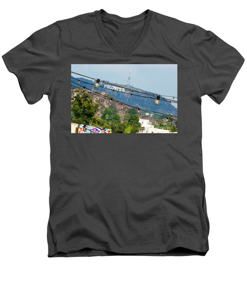 Men's V-Neck T-Shirt featuring the photograph Hollywood Sign On The Hill 1 by Micah May