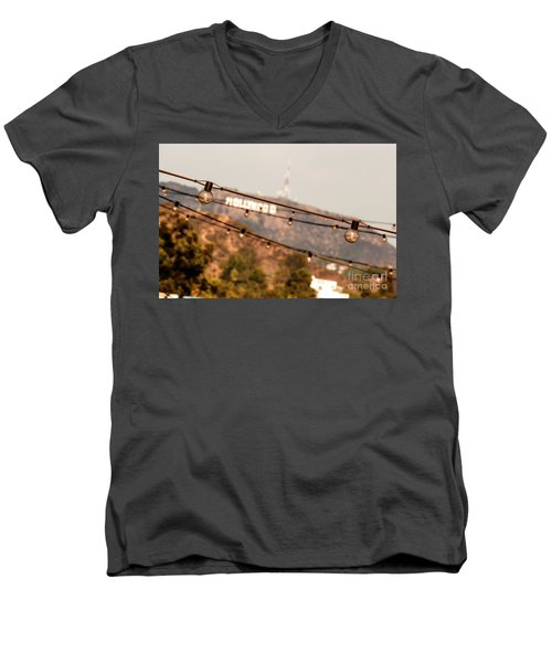 Men's V-Neck T-Shirt featuring the photograph Hollywood Sign On The Hill 2 by Micah May