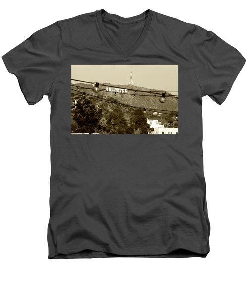 Men's V-Neck T-Shirt featuring the photograph Hollywood Sign On The Hill 4 by Micah May