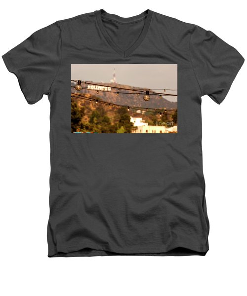 Men's V-Neck T-Shirt featuring the photograph Hollywood Sign On The Hill 5 by Micah May