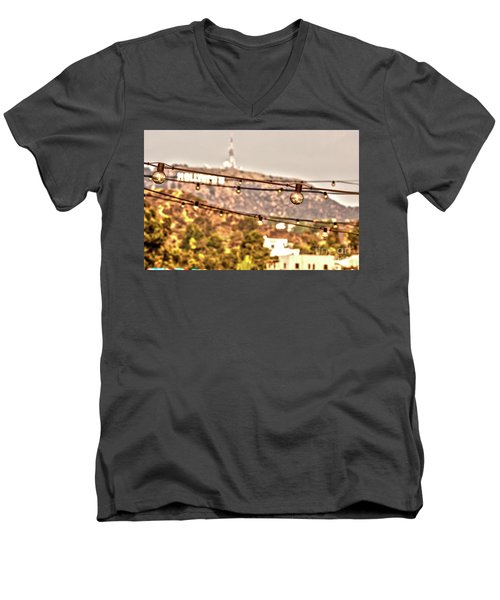 Men's V-Neck T-Shirt featuring the photograph Hollywood Sign On The Hill 6 by Micah May