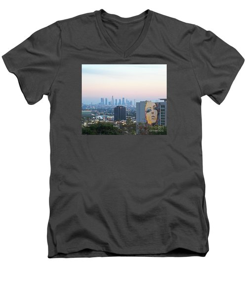 Hollywood View From Yamashiro's Men's V-Neck T-Shirt by Cheryl Del Toro