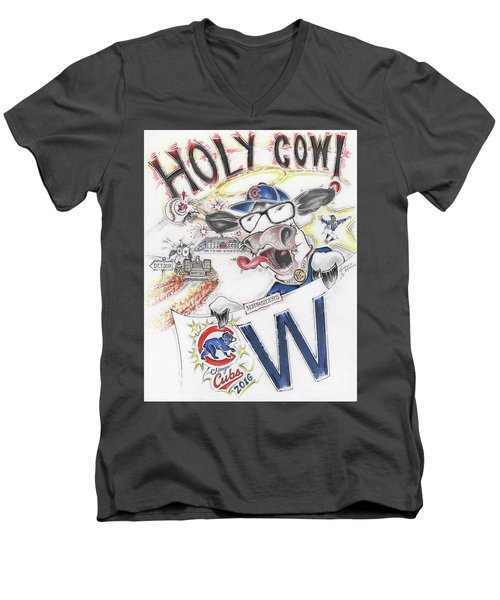 Holy Cow  Men's V-Neck T-Shirt by Scott and Dixie Wiley