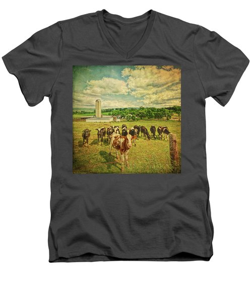Men's V-Neck T-Shirt featuring the photograph Holy Cows by Lewis Mann