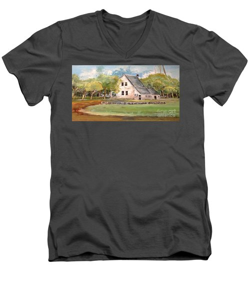 Men's V-Neck T-Shirt featuring the painting Home Again by Linda Shackelford