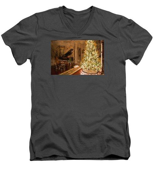 Home For Christmas Men's V-Neck T-Shirt by Cathy Jourdan