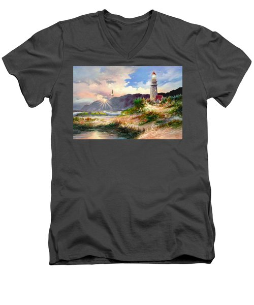 Home For The Night Men's V-Neck T-Shirt by Ron Chambers