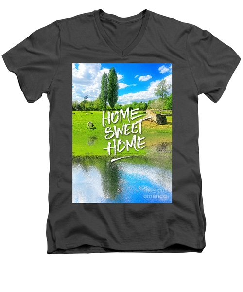 Home Sweet Home Pastoral Versailles Chateau Country Landscape Men's V-Neck T-Shirt