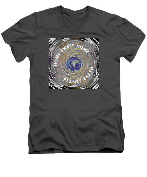 Men's V-Neck T-Shirt featuring the digital art Home Sweet Home Planet Earth by Phil Perkins